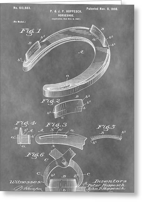 Farrier Greeting Cards - Old Horseshoe Patent Greeting Card by Dan Sproul