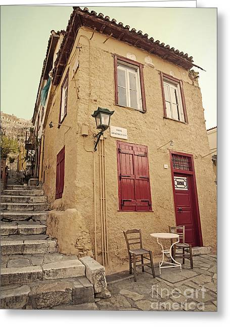 Old Street Greeting Cards - Old House  Greeting Card by Aiolos Greek Collections