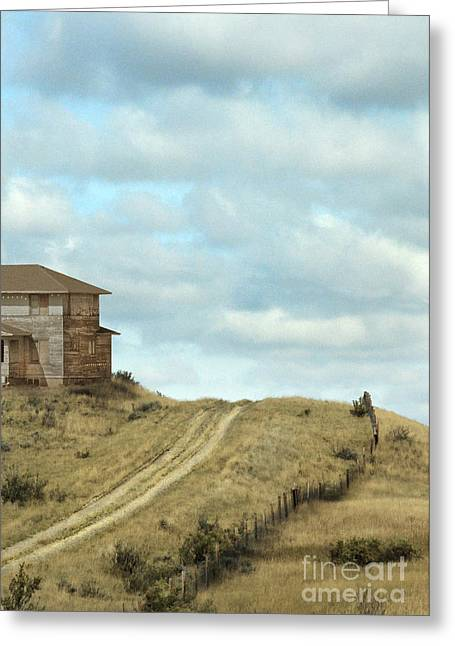 Clapboard House Greeting Cards - Old House by Dirt Road Greeting Card by Jill Battaglia