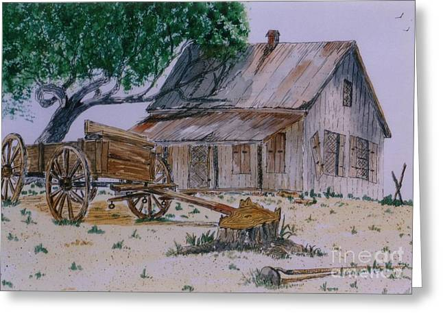 Tin Roof Mixed Media Greeting Cards - Old House Greeting Card by Don Hand