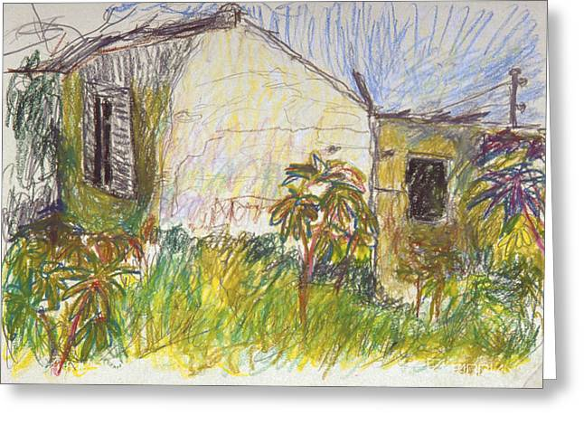 Historical Buildings Pastels Greeting Cards - Old House in Hedera Israel Greeting Card by Alon Shepherd