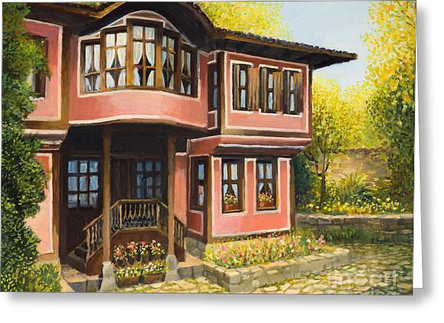 Bulgaria Paintings Greeting Cards - Old House in Koprivshtica Greeting Card by Kiril Stanchev