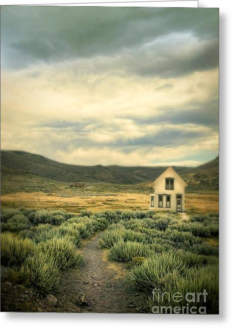 Run Down Greeting Cards - Old House in Sage Brush Greeting Card by Jill Battaglia
