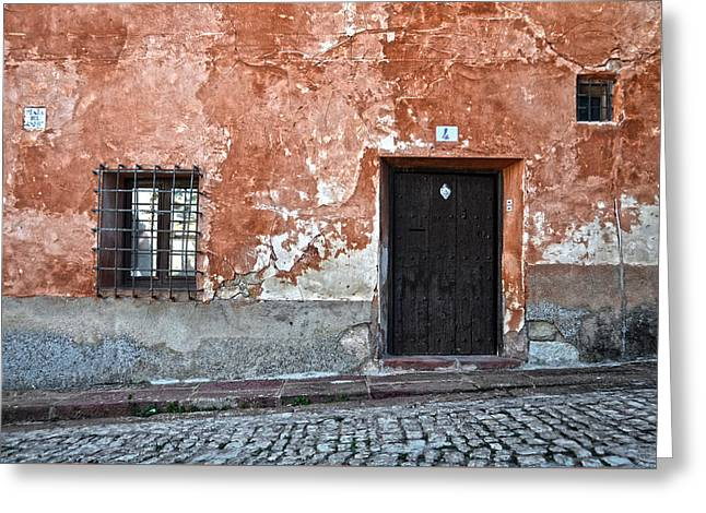 Antique Ironwork Greeting Cards - Old house over cobbled ground Greeting Card by RicardMN Photography