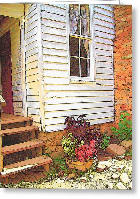 Old House Photographs Digital Art Greeting Cards - Old House Welcome Flowers Greeting Card by Rebecca Korpita