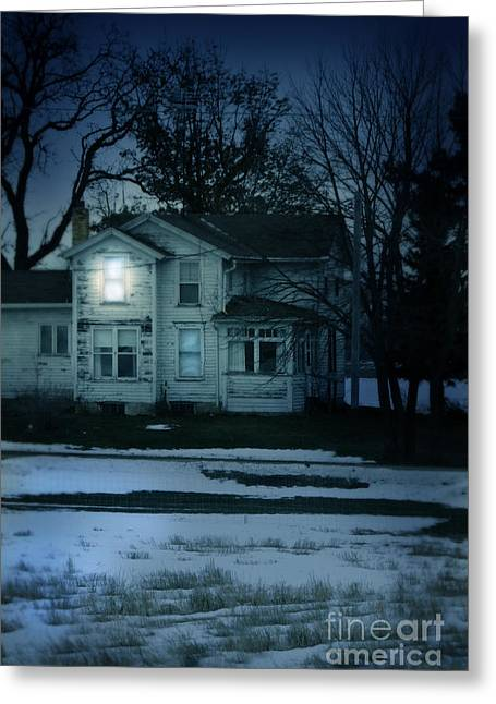 Winter Scenes Rural Scenes Greeting Cards - Old House Window Lit at Night Greeting Card by Jill Battaglia