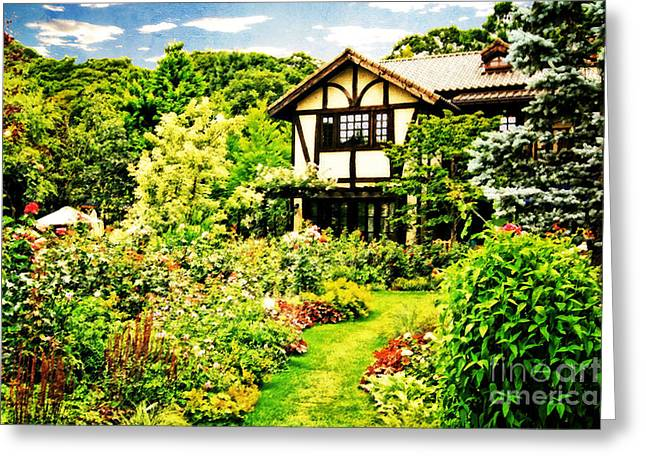 Old House With A Beautiful English Garden Greeting Card by Beverly Claire Kaiya