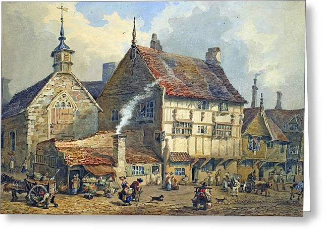 Half-timbered Greeting Cards - Old Houses and St Olaves Church Greeting Card by George Shepherd