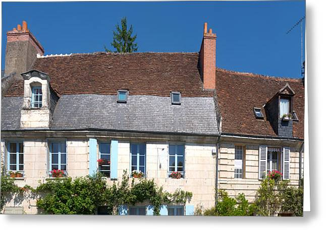 Flower Boxes Greeting Cards - Old Houses In A Town, Loches Greeting Card by Panoramic Images