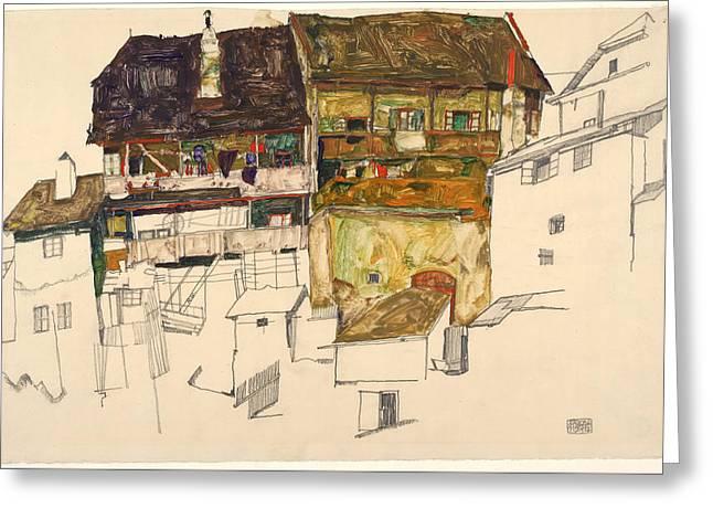 Old Houses In Krumau Greeting Card by Egon Schiele