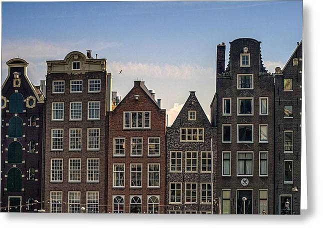 Historical Buildings Greeting Cards - Old Houses of Amsterdam. Holland Greeting Card by Jenny Rainbow