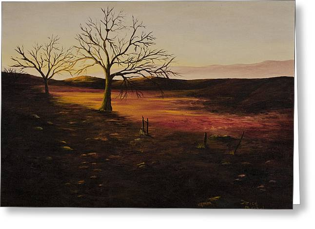 Bare Oak Tree Greeting Cards - Old Humboldt Rd. Sunset Greeting Card by Darice Machel McGuire