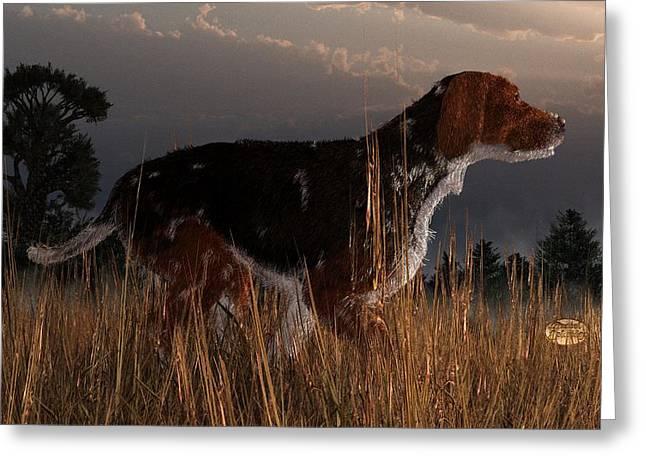 Hounddog Greeting Cards - Old Hunting Dog Greeting Card by Daniel Eskridge