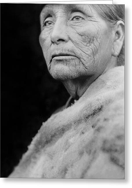 1923 Greeting Cards - Old Hupa woman circa 1923 Greeting Card by Aged Pixel