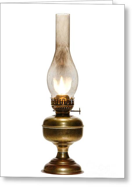 Burning Greeting Cards - Old Hurricane Lamp Greeting Card by Olivier Le Queinec