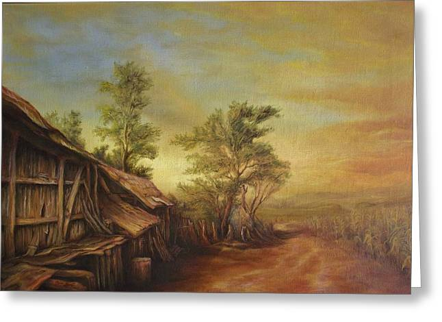 Old Hut From Turceni Greeting Card by Dan Scurtu