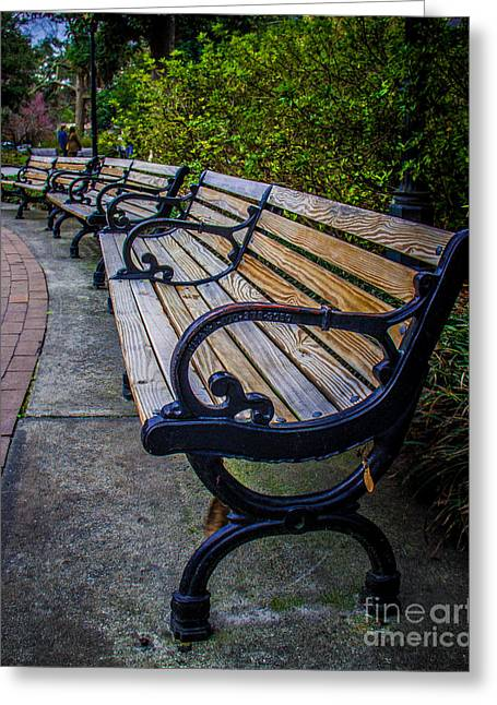 Park Benches Greeting Cards - Old Iron Bench Greeting Card by Perry Webster