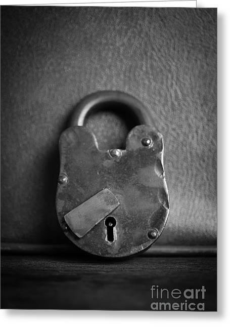 Secure Greeting Cards - Old Iron Lock Greeting Card by Edward Fielding