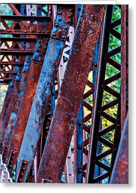 Metal Bridge Greeting Cards - Old Iron Greeting Card by Mary Jo Allen