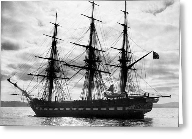 Old Ironsides In Puget Sound Greeting Card by Underwood Archives