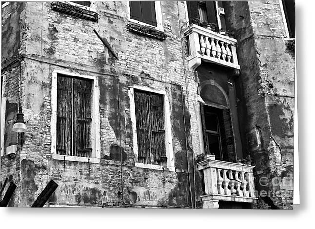 Venetian Balcony Greeting Cards - Old is New in Venice Greeting Card by John Rizzuto