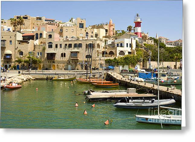 Yafo Greeting Cards - Old Jaffa Port Greeting Card by Tomi Junger