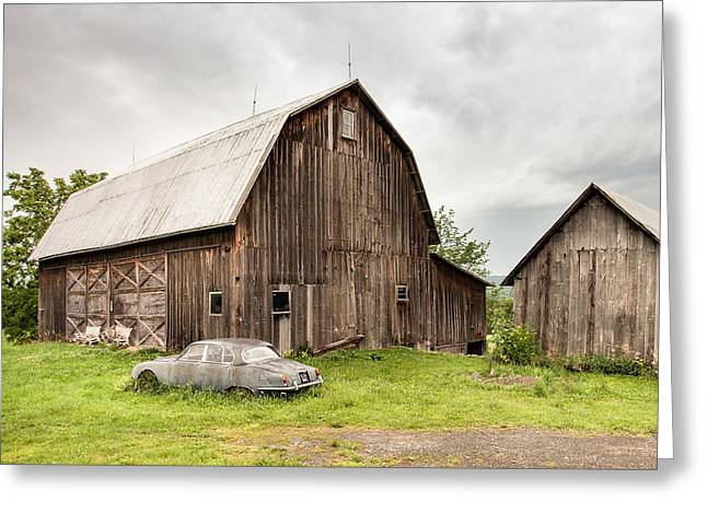 Old Barns Greeting Cards - Old Jaguar Homestead - Vintage Americana Greeting Card by Gary Heller