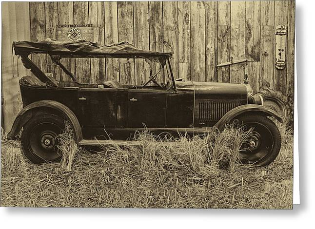 Clunker Greeting Cards - Old Jalopy Behind The Barn Greeting Card by Thomas Woolworth