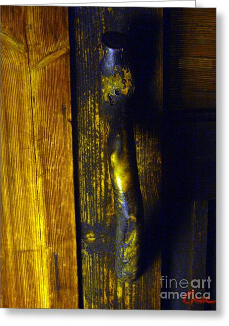 Bamboo House Greeting Cards - Old Japanese House Door Handle 02 Greeting Card by Feile Case