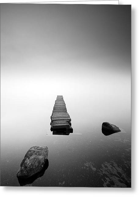 Scottish Scenic Greeting Cards - Old Jetty in the mist Greeting Card by Grant Glendinning