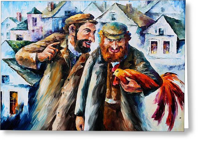 Judaic Greeting Cards - Old Jews and a Rooster  Greeting Card by Leonid Afremov