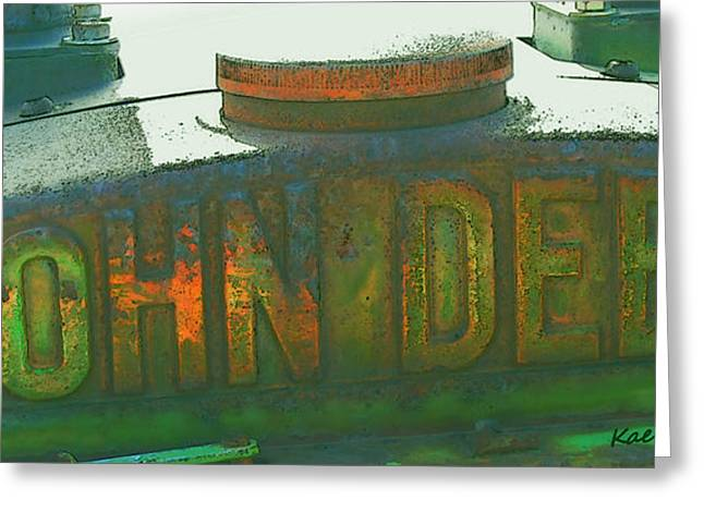 Color Enhanced Mixed Media Greeting Cards - Old John Deere Logo Greeting Card by Kae Cheatham