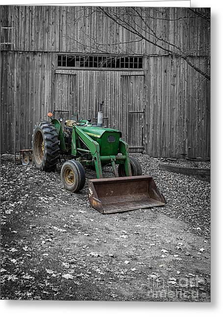 White Barns Greeting Cards - Old John Deere Tractor Greeting Card by Edward Fielding