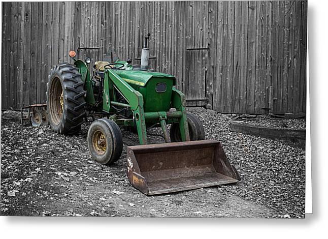 Old John Deere Tractor Greeting Card by Edward Fielding
