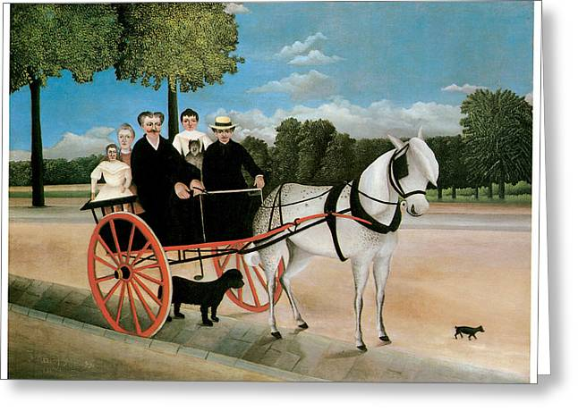 Horse And Buggy Paintings Greeting Cards - Old Juniers Cart Greeting Card by Henri Rousseau