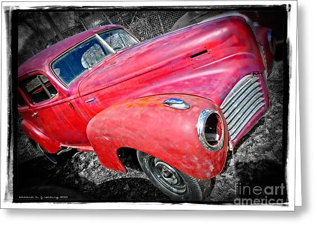 Junker Greeting Cards - Old Junker Car Greeting Card by Edward Fielding