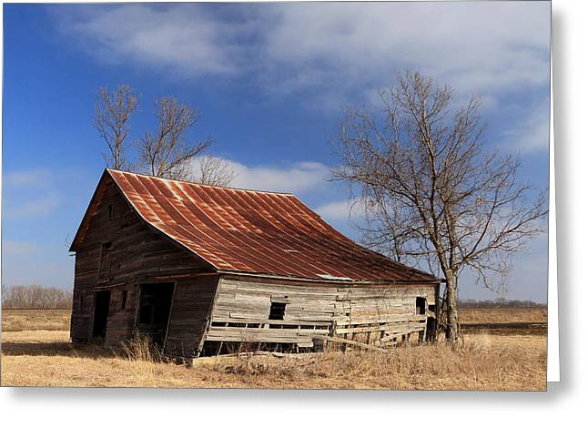 Sante Fe Trail Greeting Cards - Old Kansas Barn Greeting Card by Christopher McKenzie