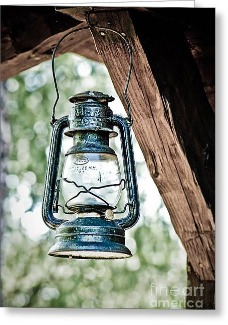 Hurricane Lamp Greeting Cards - Old kerosene lantern. Greeting Card by Jt PhotoDesign