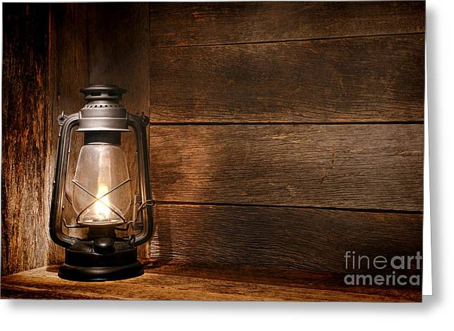 Kerosene Lamp Greeting Cards - Old Kerosene Light Greeting Card by Olivier Le Queinec