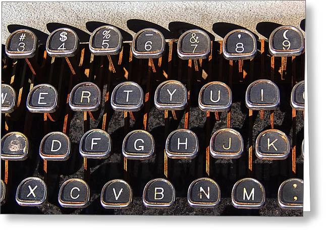 Typewriter Keys Photographs Greeting Cards - Old Keyboard Greeting Card by Art Block Collections