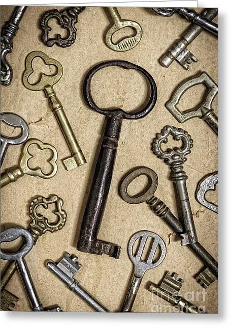 Unlock Greeting Cards - Old Keys Greeting Card by Carlos Caetano