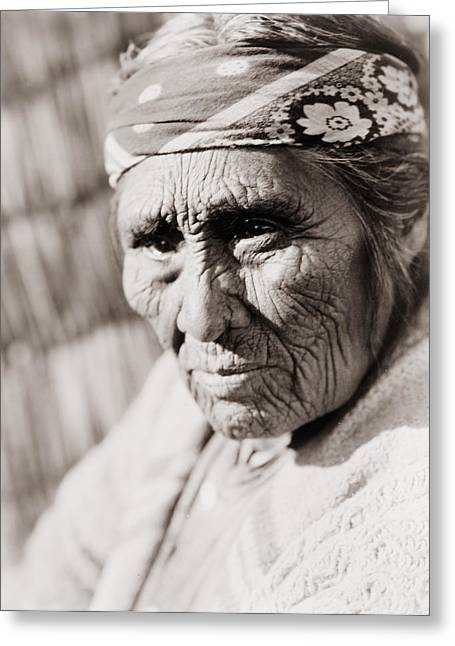 Depressed Greeting Cards - Old Klamath woman circa 1923 Greeting Card by Aged Pixel