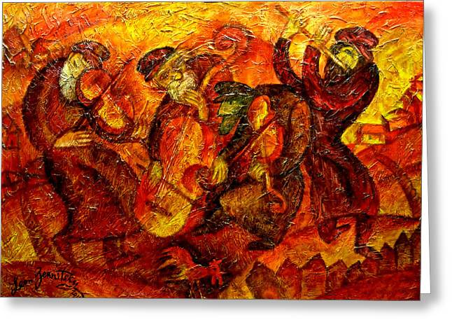 Jewish Greeting Cards - Old Klezmer Band Greeting Card by Leon Zernitsky