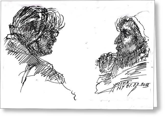 Sketch Greeting Cards - Old Ladies Talking Greeting Card by Ylli Haruni
