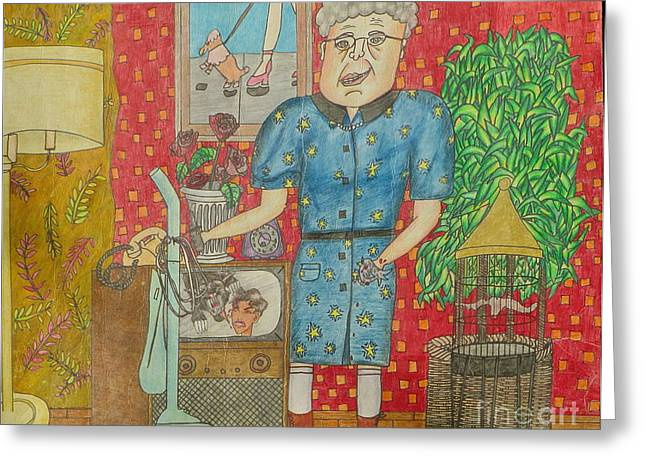 Old Tv Drawings Greeting Cards - Old Lady Greeting Card by Juliet Sarah Marx