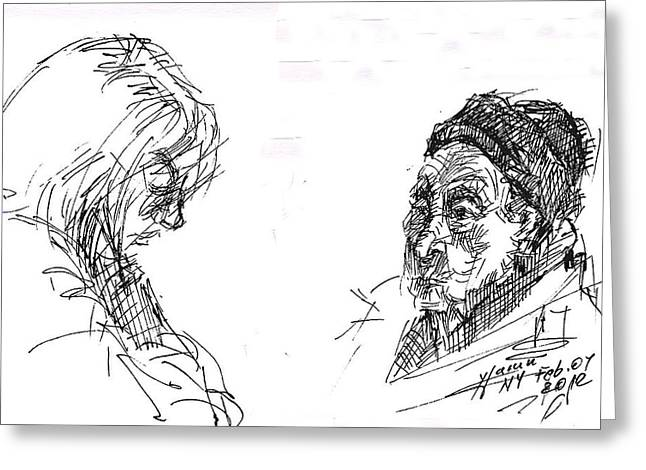 Tim Hortons Greeting Cards - Old Lady With A Lady Greeting Card by Ylli Haruni