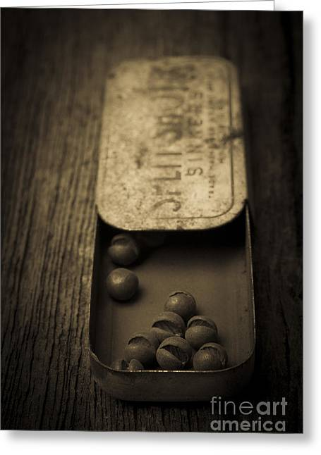 Life Line Photographs Greeting Cards - Old Lead Fishing Sinkers in Tin Greeting Card by Edward Fielding
