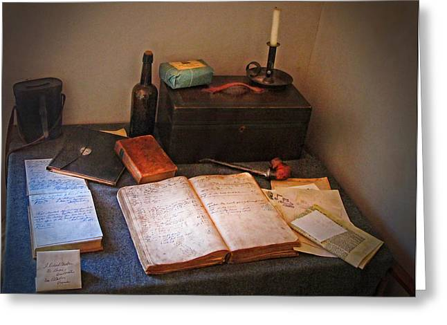 Ledger; Book Photographs Greeting Cards - Old Ledger  Greeting Card by Dave Mills