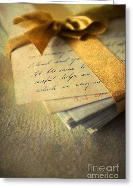 Information Age Photographs Greeting Cards - Old letters and a golden ribbon Greeting Card by Jaroslaw Blaminsky