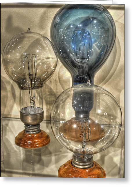 Edison Greeting Cards - Antique Light Bulbs Greeting Card by Geraldine Alexander